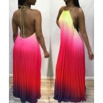 Colorful Gradient Halter Maxi Dress with Open Back