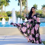 Flower Print Wrapped Maxi Dress