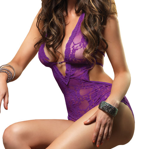 Leg Avenue Deep V Halter Teddy Purple